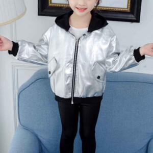 Letter Pattern Hooded Jacket for Girl