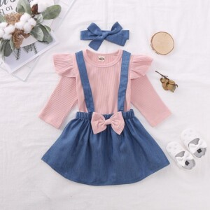 3-piece Solid Ruffle Tops & Dungarees & Headband for Toddler Girl