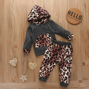 2-piece Leopard Hoodie & Pants for Baby Girl