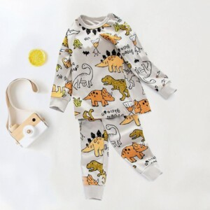 2-piece Dinosaur Printed Pajamas Sets for Boy