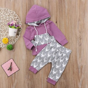 2-piece Cartoon Design Hoodie & Pants for Baby Girl