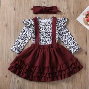 3-piece Leopard Bodysuit & Headband & Dress for Baby Girl
