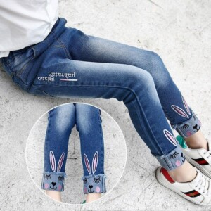 Rabbit Pattern Jeans for Girl