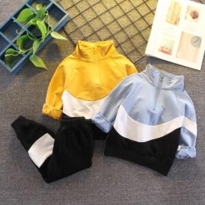 2-piece Color-block Coat & Pants for Toddler Boy