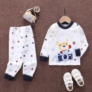 2-piece Bear Pattern Pajamas Sets for Toddler Boy