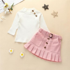 2-piece Solid Tops & Skirt for Toddler Girl