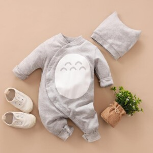 2-piece Cartoon Design Bodysuit & Hat for Baby