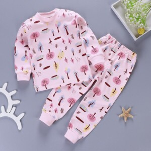 2-piece Floral Printed Pajamas Sets for Toddler Girl
