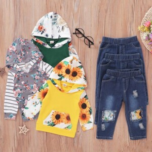 2-piece Floral Printed Hoodie & Jeans for Baby Girl