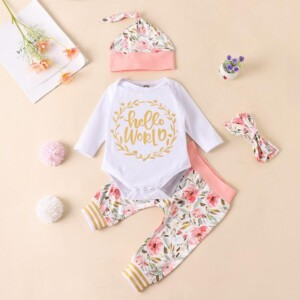 3-piece Letter Pattern Bodysuit & Floral Printed Pants & Hat for Baby Girl
