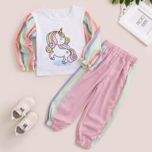 2-piece Cartoon Design Stripes Sweatshirt & Pants for Toddler Girl