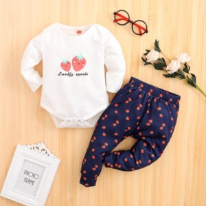 2-piece Strawberry Pattern Bodysuit & Pants for Baby Girl