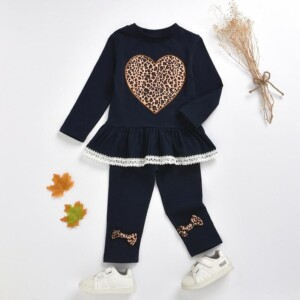 2-piece Heart-shaped Printed Blouse & Pants for Toddler Girl