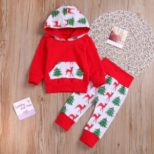 2-piece Elk and Tree Printed Hoodie and Pants Set