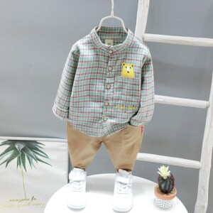 2-piece Bear Pattern Plaid Shirt & Pants for Toddler Boy