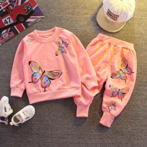 2-piece Cartoon Design Sweatshirt & Pants for Toddler Girl