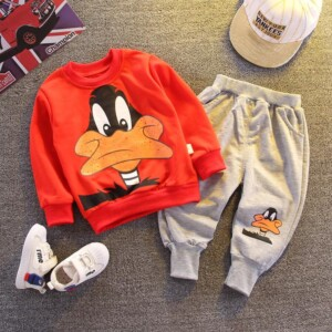 2-piece Cartoon Design Sweatshirts & Pants for Toddler Boy