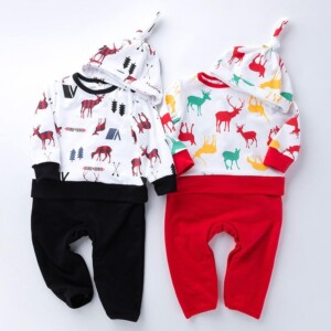 2-piece Cartoon Jumpsuits and Hat Sets for Baby