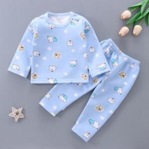 2-piece Fleece-lined Cartoon Design Pajamas Sets for Toddler Girl