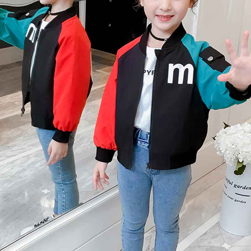 Color-block Letter Pattern Jacket for Girl