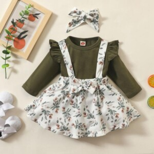 3-piece Solid Bodysuit & Floral Printed Strap Dresses & Headband for Baby Girl
