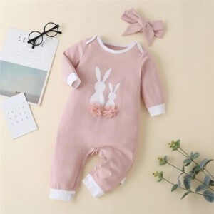 2-piece Rabbit Pattern Jumpsuit & Headband for Baby Girl