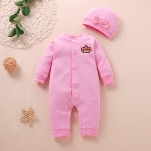 2-piece bowknot Crown Pattern Jumpsuit for Baby Girl