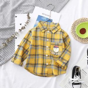 Cartoon Design Plaid Shirt for Toddler Boy