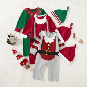 2-piece Christmas Color-block Jumpsuit & Hat for Baby