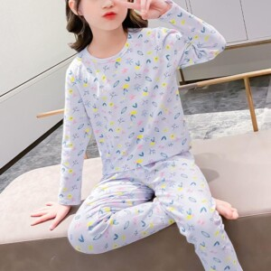 2-piece Floral Printed Pajamas Sets for Girl