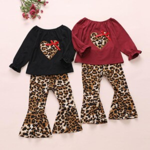 2-piece Heart-shaped Pattern Tops & Leopard Pants for Toddler Girl