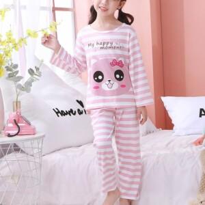 2-piece Cartoon Design Striped Pajamas for Girl