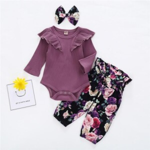 3-piece Solid Bodysuit & Floral Printed Pants & Headband for Baby Girl
