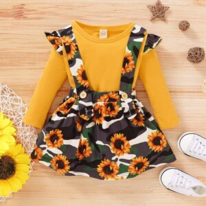 2-piece Sunflower Printed Strap Dress & Tops for Baby Girl