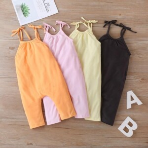 Solid Sling Overalls for Toddler Girl