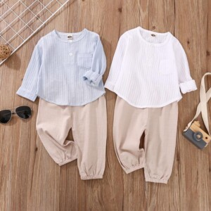 2-piece Casual Solid Tops & Pants for Baby Boy