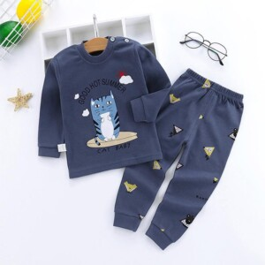 2-piece Cat Pattern Pajamas Sets for Toddler Boy