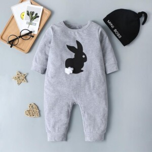 2-piece Rabbit Pattern Jumpsuit & Hat for Baby