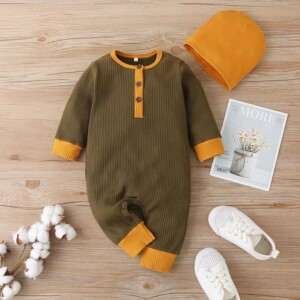 2-piece Solid Jumpsuit & Hat for Baby Boy