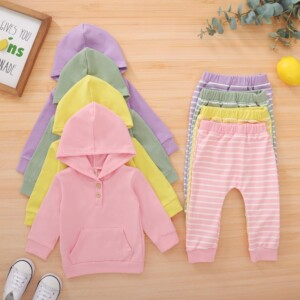 2-piece Solid Hoodie & Striped Pants for Baby