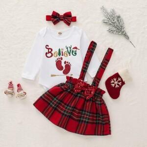 3-piece Letter Pattern Bodysuit & Plaid Skirt & Headband for Baby Girl