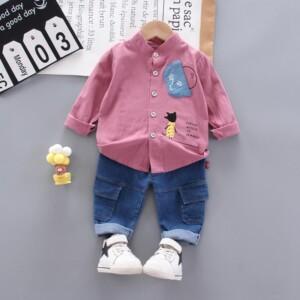 2-piece Cartoon Design Shirt & Jeans for Toddler Boy