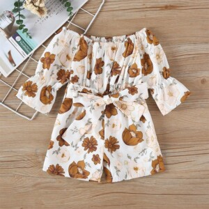 Floral Printed Overalls for Toddler Girl
