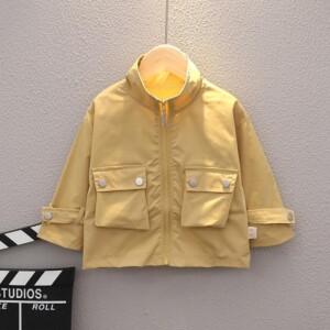 Solid Pocket Design Coat for Toddler Boy