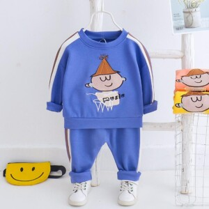 2-piece Cartoon Design Striped Sweatshirts & Pants for Toddler Boy