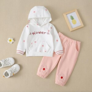 2-piece Letter Pattern Hoodie & Pants for Baby Girl
