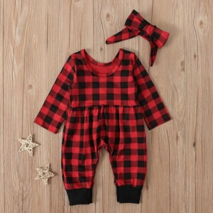 2-piece Plaid Jumpsuit & Headband for Baby Girl