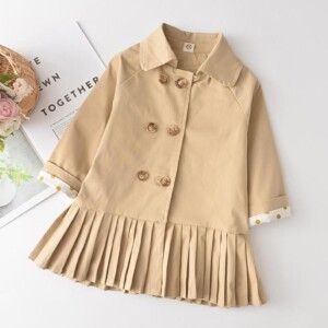 Preppy Solid Duffle Coat Trench for Toddler Girl