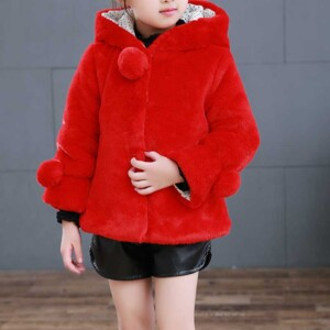 Solid Extra Thick Hooded Coat for Toddler Girl