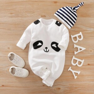 2-Piece Panda Long-Sleeve Jumpsuit with Hat Set for Baby
